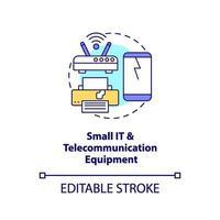 Pequeño icono de concepto de equipo de telecomunicaciones e informática vector