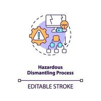 Hazardous dismantling process concept icon