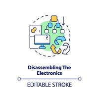 Disassembling electronics concept icon vector