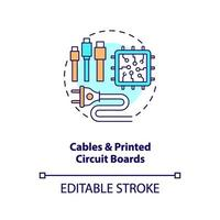 Cables and printed circuit boards concept icon vector