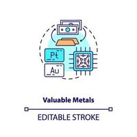 Valuable metals concept icon