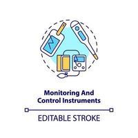 icono de concepto de instrumentos de monitoreo y control vector