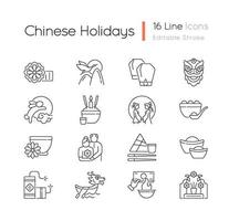 Chinese holidays linear icons set vector
