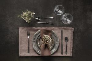 Table setting top view photo