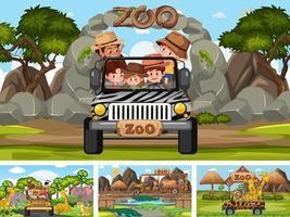 Cuatro escenas de zoológico diferentes con niños y animales. vector