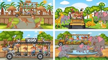 Four different zoo scenes with kids and animals vector