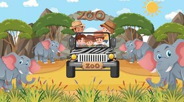 Safari en la escena diurna con muchos niños viendo un grupo de elefantes. vector