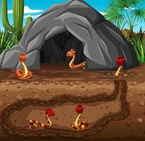 Madriguera de animales subterránea con familia de serpientes vector