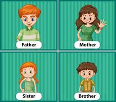 Educational English word card of family members vector