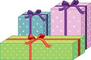 Conjunto de diferentes cajas de regalo aislado sobre fondo blanco. vector