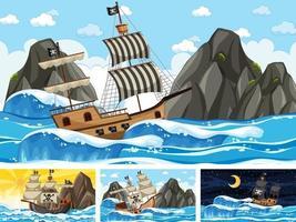 conjunto de escenas oceánicas en diferentes momentos con barco pirata en estilo de dibujos animados vector