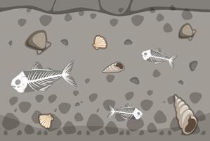 Underground soil with fishbone and seashell fossils vector