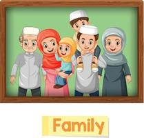 Educational English word card of muslim family members vector
