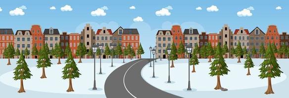Escena horizontal durante el día con un largo camino a través del parque de nieve hacia la ciudad. vector