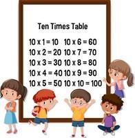 tabla de multiplicar del diez con muchos niños personajes de dibujos animados vector