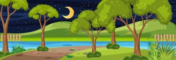 bosque a lo largo del río escena horizontal en la noche con muchos árboles vector