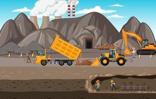 paisaje de la minería del carbón con escena subterránea vector