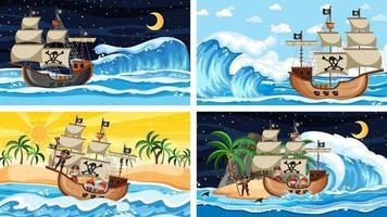 Cuatro escenas de playa diferentes con barco pirata. vector