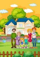 familia feliz de pie fuera de casa vector