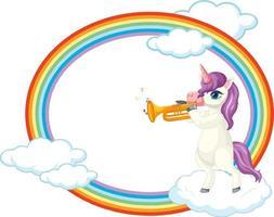 marco de arco iris con lindo personaje de dibujos animados de unicornio vector