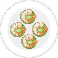 Vista superior del menú de comida de camarones en un plato vector