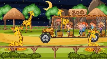 Safari en la escena nocturna con muchos niños viendo un grupo de jirafas. vector