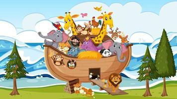 Animals on Noah ark floating in the ocean scene vector