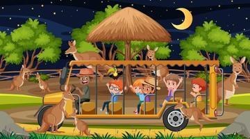 Grupo canguro en escena de safari con niños en el coche turístico. vector