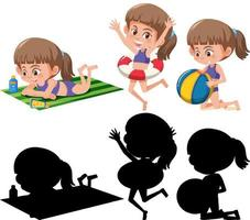 Set of different kids cartoon character in summer theme silhouette vector