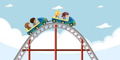 Children ride roller coaster with sky background vector