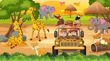 safari en la escena de la puesta del sol con muchos niños viendo animales vector