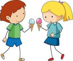 lindo, niño, tenencia, cono de helado, aislado vector