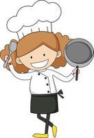 personaje de dibujos animados chef mujer personaje de dibujos animados vector