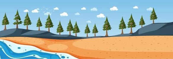 Escena horizontal de playa durante el día con muchos pinos. vector