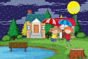 escena al aire libre en la noche con dos niños sosteniendo paraguas vector