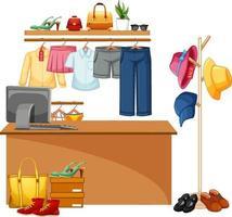Mostrador de caja de tienda de ropa aislada vector