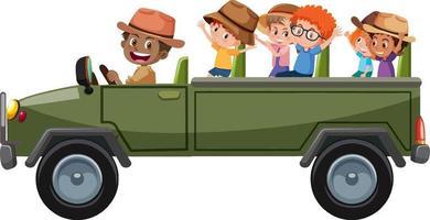 Concepto de zoológico con niños en coche turístico aislado sobre fondo blanco. vector