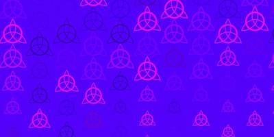 patrón de vector púrpura claro con elementos mágicos.