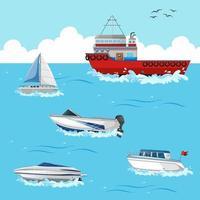 muchos barcos diferentes en la escena del océano. vector
