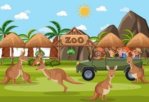 Escena de safari con niños en coche turístico viendo grupo canguro vector