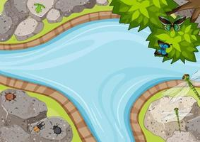 Top view of river garden scene with many insects vector