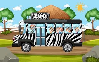 Los niños en el automóvil turístico exploran la escena del zoológico. vector