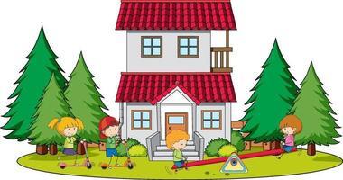 muchos niños haciendo diferentes actividades en la casa vector