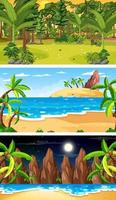 Tres escenas horizontales de bosque diferentes. vector