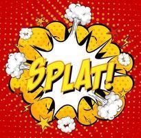 texto de splat en explosión de nube cómica sobre fondo rojo vector