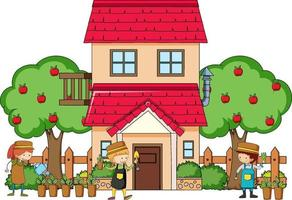 Front view of a house with many kids on white background vector