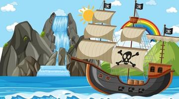 océano con barco pirata en la escena diurna en estilo de dibujos animados vector