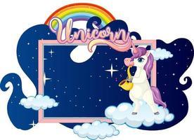 Banner vacío con lindo personaje de dibujos animados de unicornio sobre fondo blanco. vector