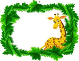 Empty banner with tropical leaves frame and giraffe cartoon character vector