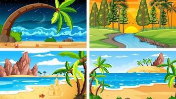 cuatro escenas horizontales de naturaleza diferente. vector